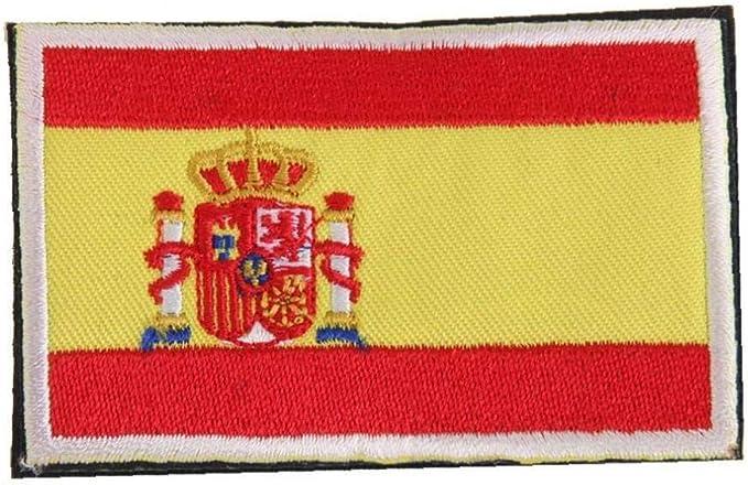 Placa Frontera De La Bandera Nacional De España Hecho a Mano De La Bandera Insignia Bordada España Parche De Costura Española: Amazon.es: Amazon.es