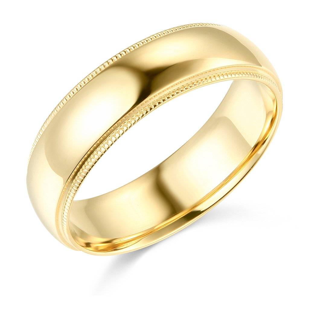 14k Yellow Gold 6mm COMFORT FIT Plain Milgrain Wedding Band - Size 10