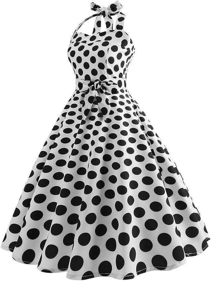 Baijiaye Annata Vestito Anni 50 Donna Elegante Abito Vintage con Gonna a Ruota Vintage con Allacciatura al Collo
