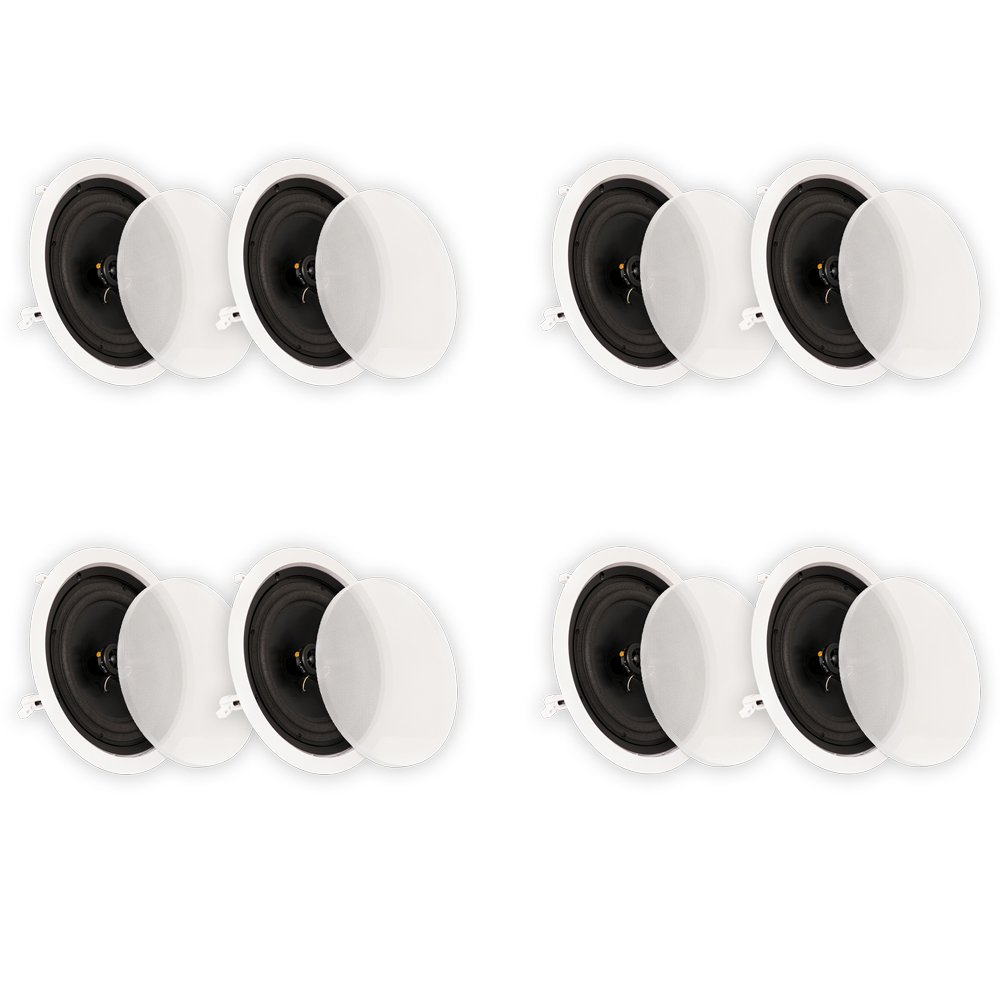 Theater Solutions CS8C In Ceiling 8'' Speakers Surround Sound Home Theater 4 Pair Pack 4CS8C by Theater Solutions