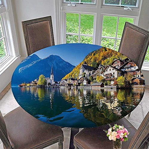 Mikihome Elasticized Table Cover Hallstatt Village with in Austria Print Blue and Green Machine Washable 63