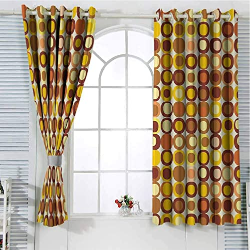Jinguizi Grommet Window Curtain Blackout Curtain Mid Century,Kitsch and Retro Styled Round Edged Square Pattern