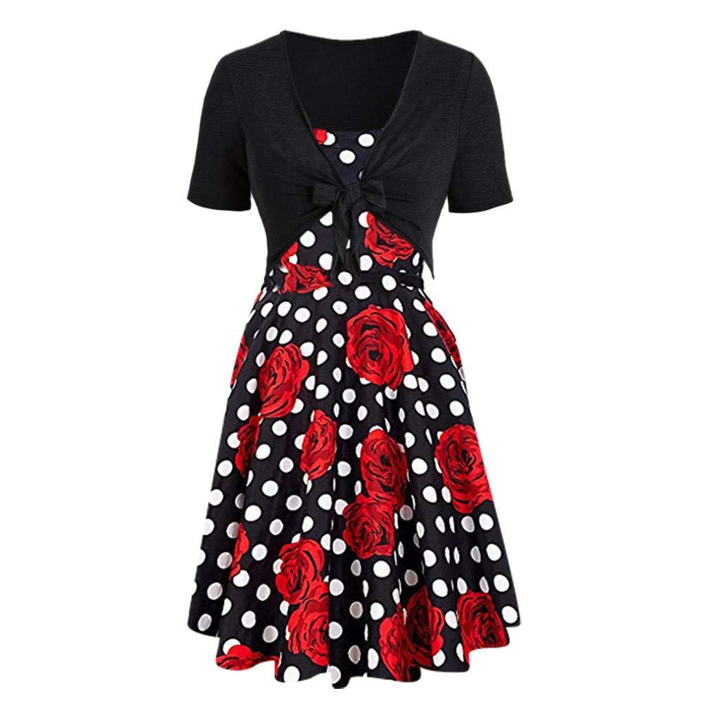 9d321b1f4ef3c Women Dresses Rose Polka Dot Print Dress Sling Set Cardigan 2pc ...