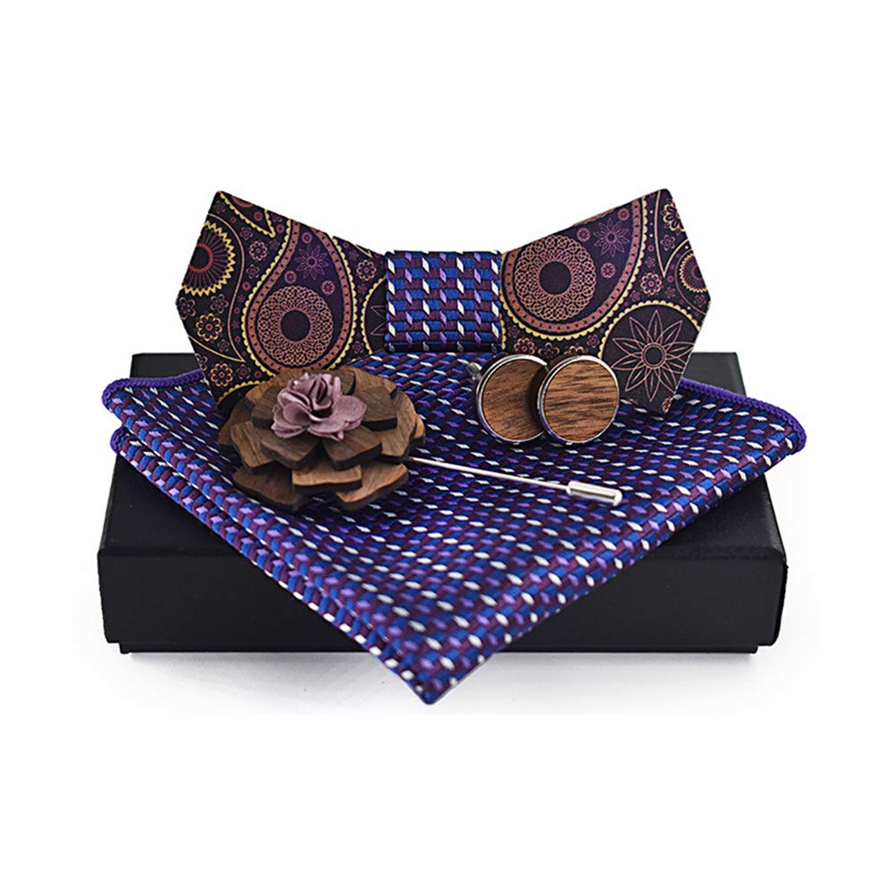 Liyao Men Wooden Classic Bow Tie Set Bow Tie Kerchief and Cufflink Brooch Design Set