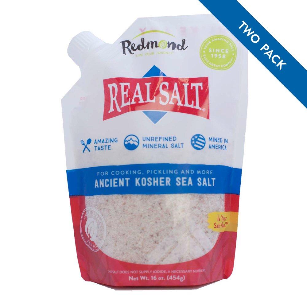 Redmond Real Sea Salt - Natural Unrefined Organic Gluten Free Kosher, 16 Ounce Pouch (2 Pack)