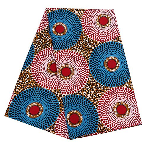 (Chien African Ankara Fabric African Wax Print Fabric for Sewing Dress Clothing Designs Wax Material for Fashion, Dresses, Top, Skirt, Jewelry, Shoes, Bags, Head Wraps 6 Yards (Mixed Color 3))