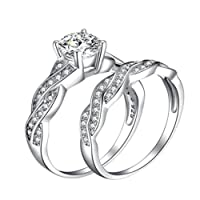 Joopee Silver Ring Anniversary Promise Wedding Band Engagement Ring Bridal Sets Love Ring