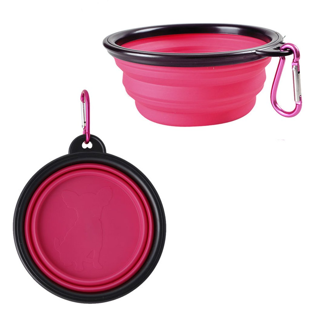 YDZN Pet Bowl Dog Cat Portable Folding Food Water Drinking Bowl Collapsible SiliconeFeeding Feeder for Home Travel Outdoor with Clip (Pink)