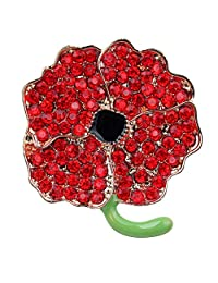 Remembrance Day Gifts Red Enamel Flowers Crystal Poppy Brooches Pins for Hero Women