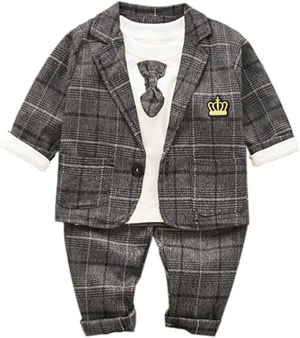KUKEONON Toddler Baby Boys Suits 3Pcs Formal Wear Tuxedos Outfits