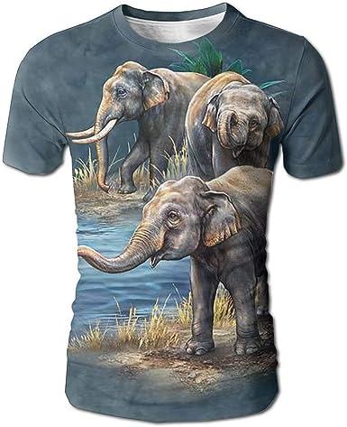 Camiseta con Estampado Completo 3D de Elefante asiático para ...