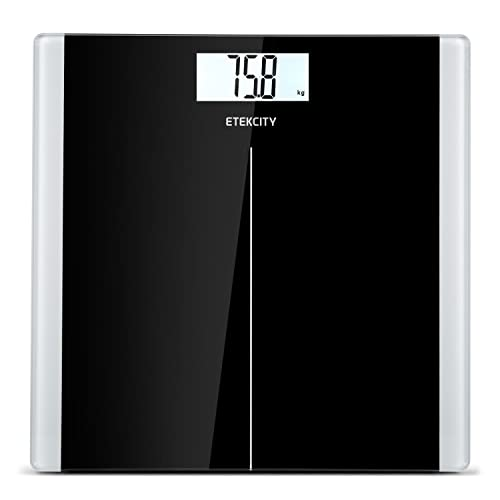 Etekcity High Precision Digital Body Weight Bathroom Scales Weighing Scale with Step-On Technology, 28st/180kg/400lb, Backlight Display, Slim Design, Elegant Black.