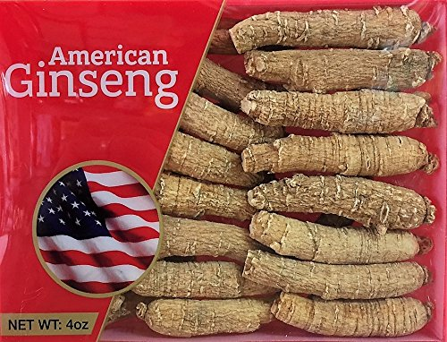 Hand-selected A Grade American Ginseng Medium Thin-Short Size (4 Oz. Box)