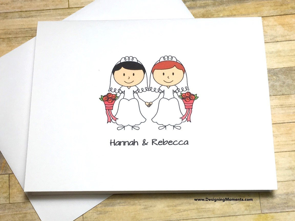 Lesbian Wedding Thank You Cards, Personalized Gay Wedding Thank You, Same Sex Wedding Thank You Card Set, Wedding Gown Cards, LGBT Wedding