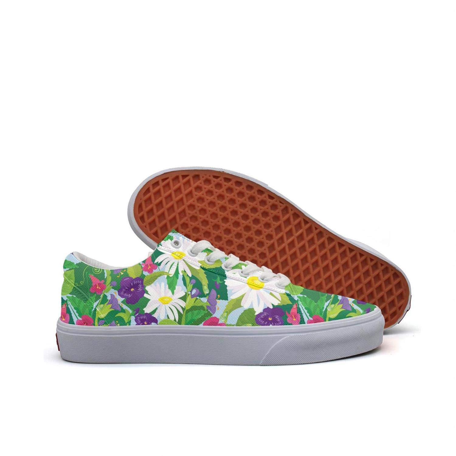 FGBLK Lace Canvas Beautiful Flowers with Mini Live Pansies Womens Sneakers Non-Slip Flat Skater Trainers