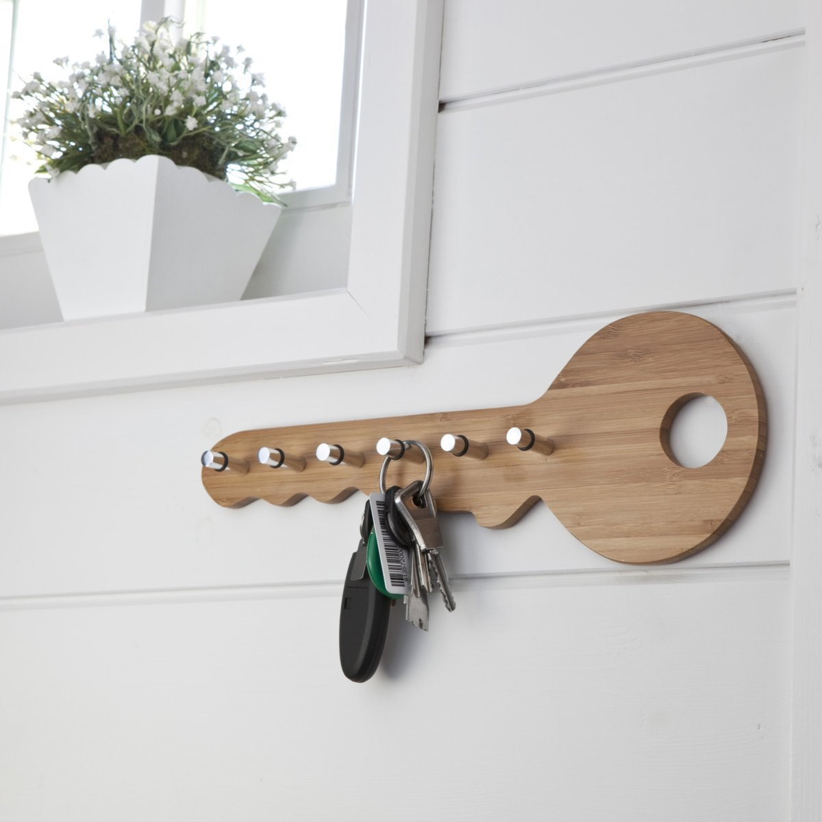 La Redoute Interieurs Bamboo Wall Key Holder With 6 Hooks Light Wood Size One Size