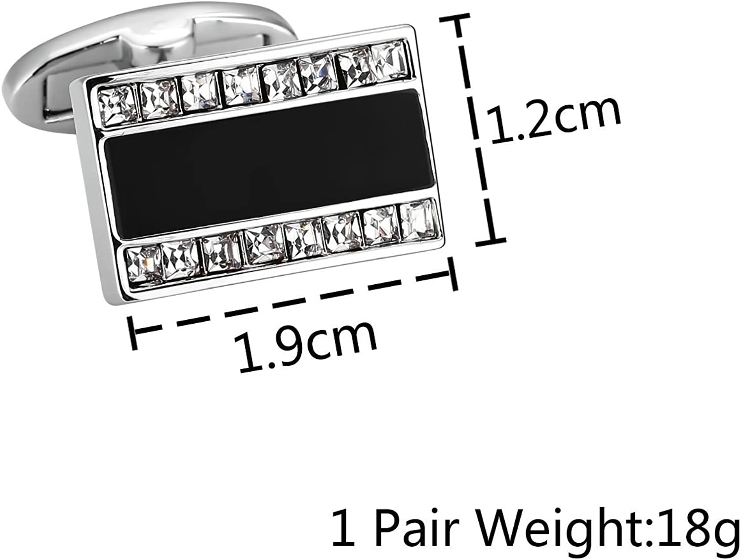 Bishilin Business Classic Cufflinks for Men Square Silver Black Shirt Wedding Business with Gift Box