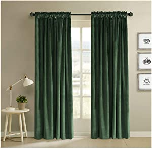 Classic Velvet Mossy Green Set of 2 Blackout Insulated Rod Pocket Drapes Room Darkening Curtains Panel Drapery 52 by 108-Inch (2 Panels)