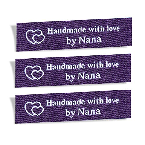 Wunderlabel Handmade with Love by Nana Granny Mix Thread Craft Art Fashion Woven Ribbon Ribbons Clothing Sewing Sew Clothes Garment Fabric Material Embroidered Label Tags, White on Purple, 25 Labels