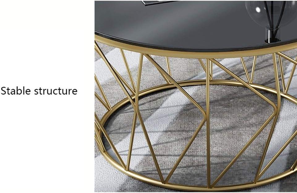 Décoration Table Basse Verre Simple Trempé Nordique Table Basse Moderne Fer Forgé Petite Table d\'appoint for Salon Canapé Chambre End Table Table de thé (Color : Black) Black