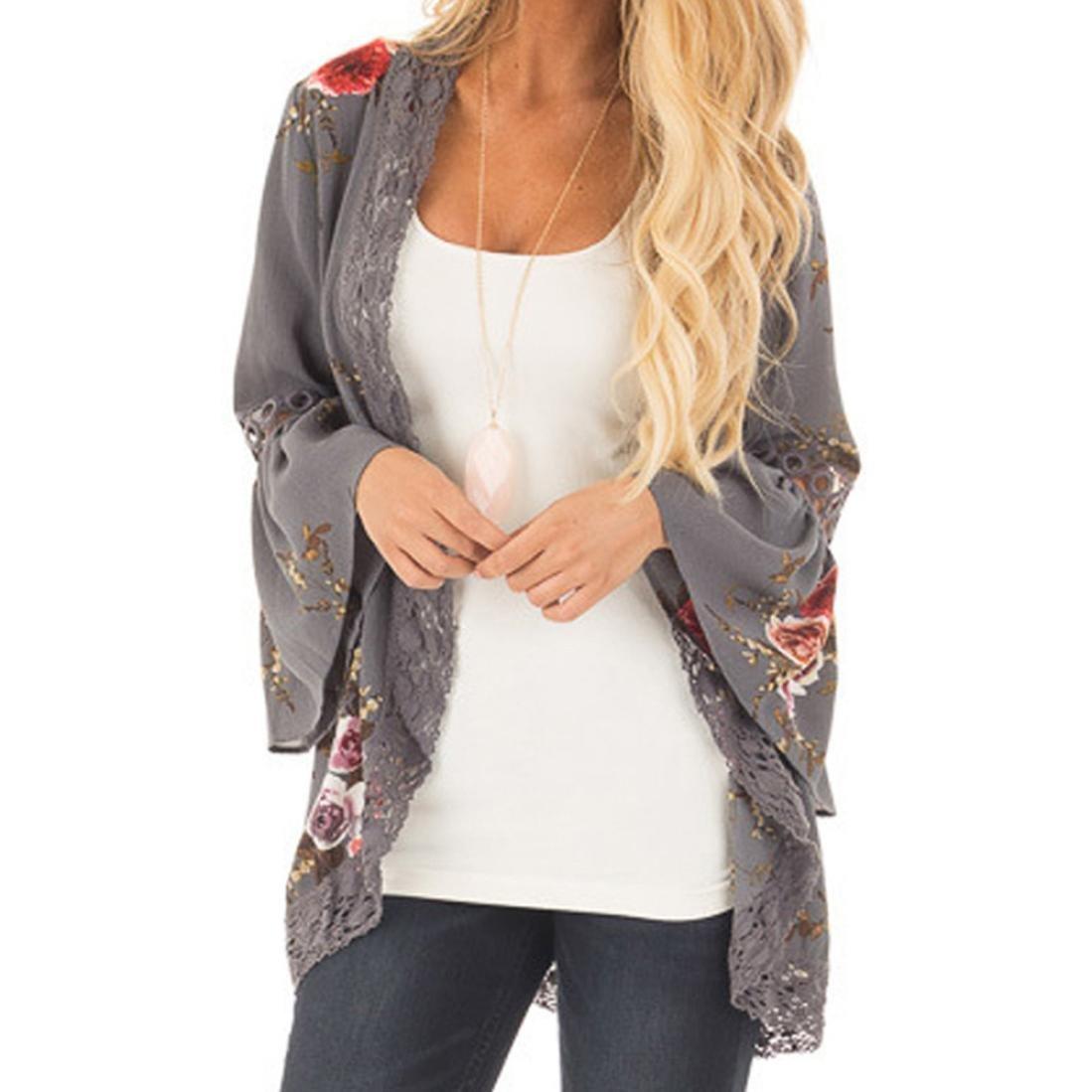 Amazon.com: Teresamoon Womens Floral Print Sheer Lace Loose Kimono Jacket Cardigan: Kitchen & Dining