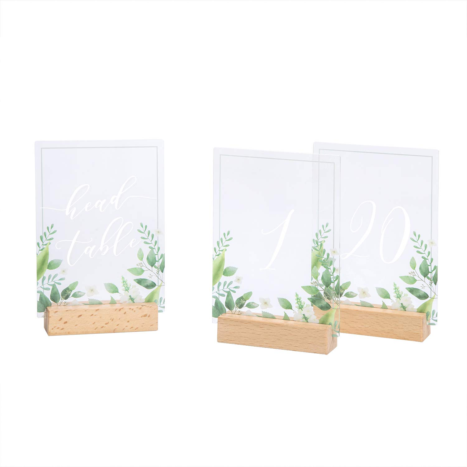 Ling's moment Wedding Table Numbers with Holders Acrylic Elegant Number Cards 1-20 & Head Table Sign Simple Calligraphy Design 4''x6'' for Rustic Wedding