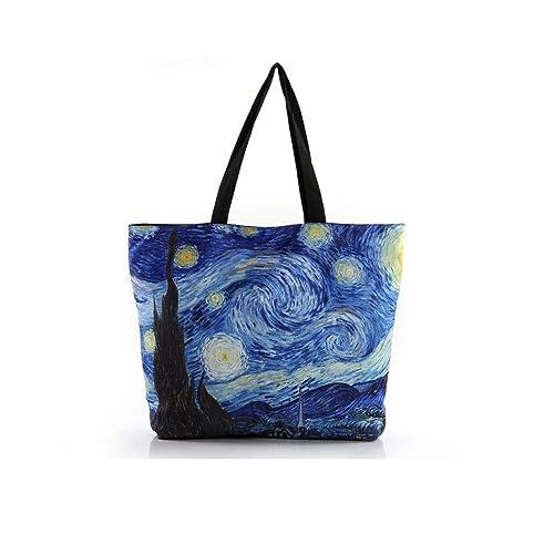 Amazon.com: Para mujer bolsa de lona la Noche estrellada ...