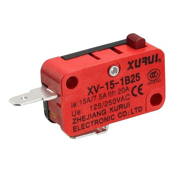 sourcing map xurui microinterruptor de pulsador xv-15-1b25 para ...