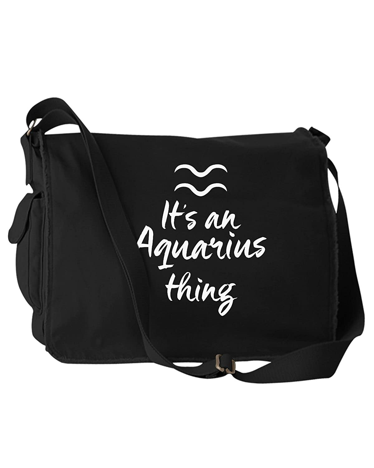 Funny Its An Aquarius Thing Zodiac Sign Black Canvas Messenger Bag