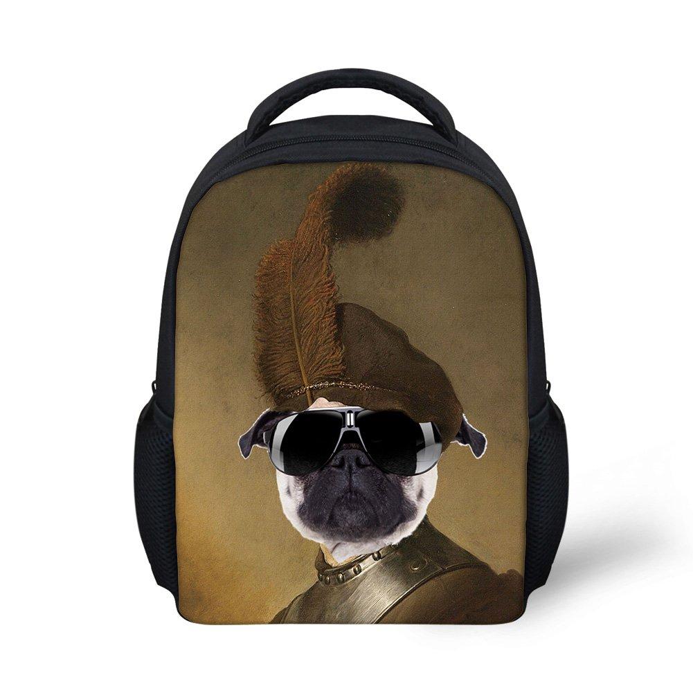 Hoijay Preschool Backpack, Little Kid Backpacks for Boys and Girls Stylish Sunglasses Pug Captain