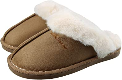 COOCOl Natural Fur Slippers Shoes Women Indoor Floor Slippers Home Shoes Warm Thick Wool Slippers,Beige,9