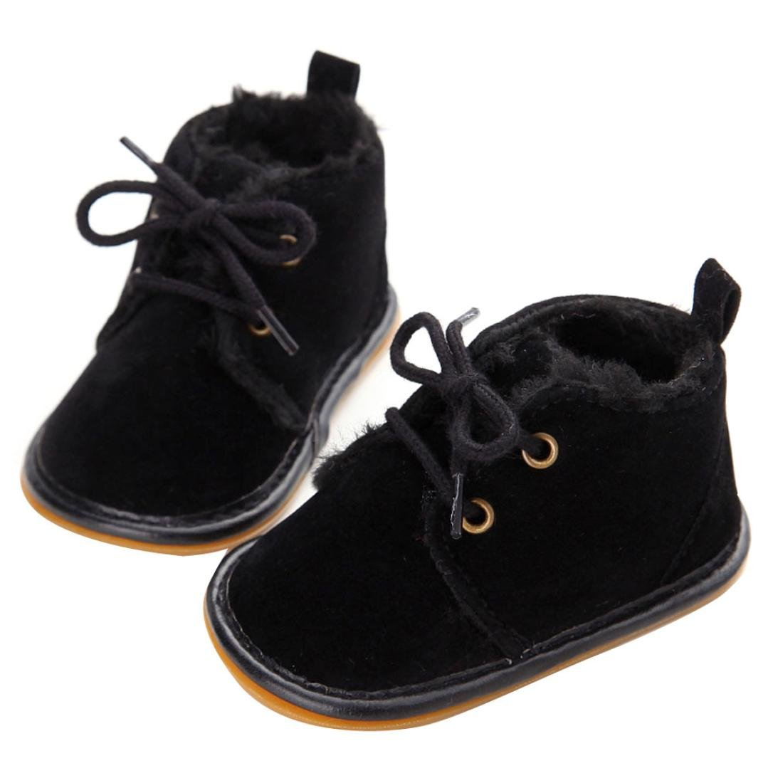 Mingfa Baby-Winterstiefel, warme und dicke Kleinkinder-Fellschneeschuhe zum Schnüren für Jungen und Mädchen, für das Kinderbett, erste Laufschuhe für 0 - 18Monate Age:0~6 Month rose für das Kinderbett Mingfa.y