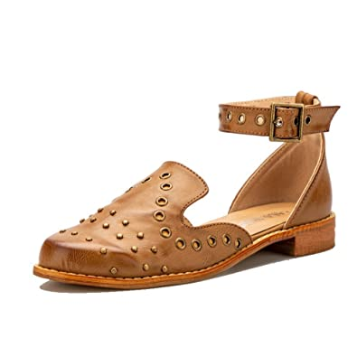 72f1c84f7 LALA IKAI Women Studded Flat Sandal Closed Toe Ankle Strap Leather Cut Out  Comfy Summer Beach