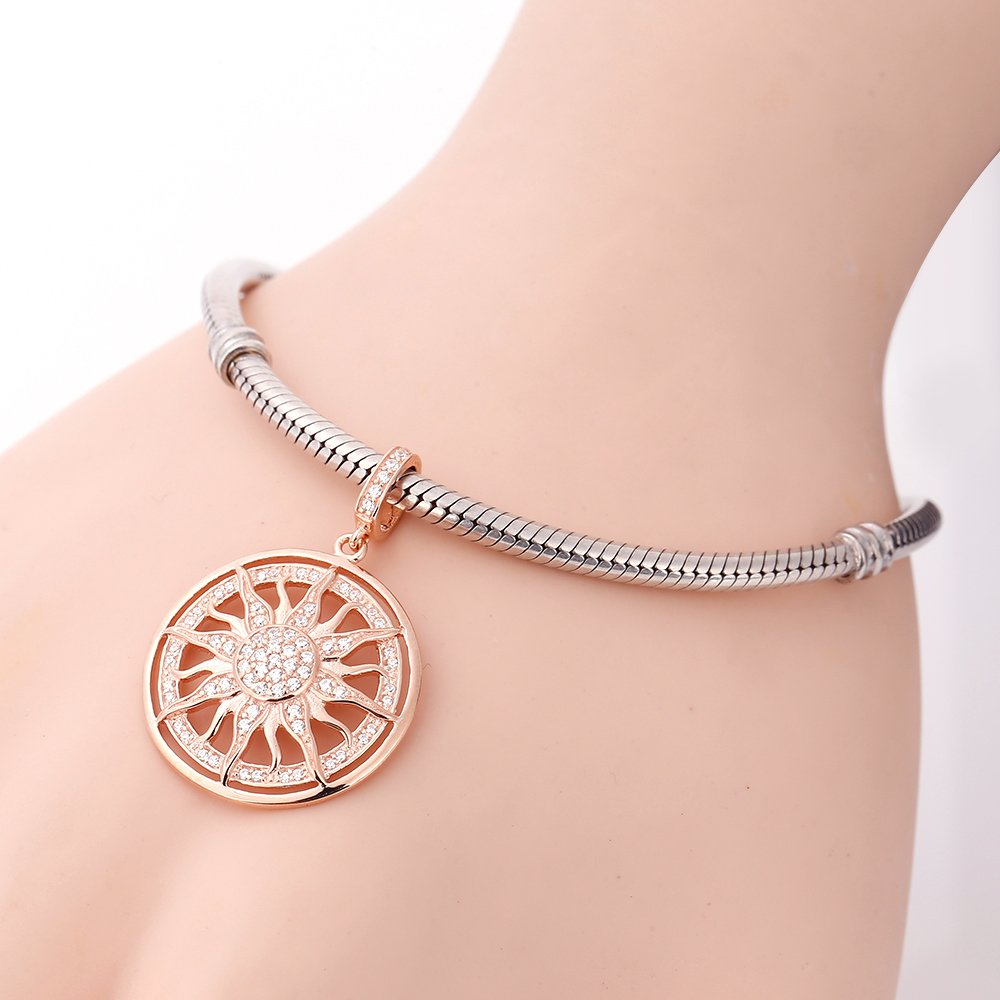Rose Gold Sun Charms 925 Sterling Silver Dangle Charms with Clear CZ for 3mm Snake Chain Bracelet by Paiyuan charms (Image #4)
