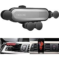 Ownsig Soporte Celular Auto Soporte de Ventilación de Aire Teléfono para Coche Cierre Automático para Movíl con Protector de Choque Neumático (Plata)