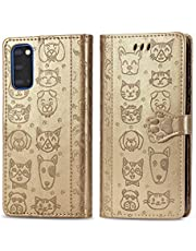 Miagon PU Leather Wallet Case for Samsung Galaxy S20,Cat and Dog Animal Design Embossing Flip Stand Function Cover with Card Slots Magnetic Buckle and Lanyard,Gold