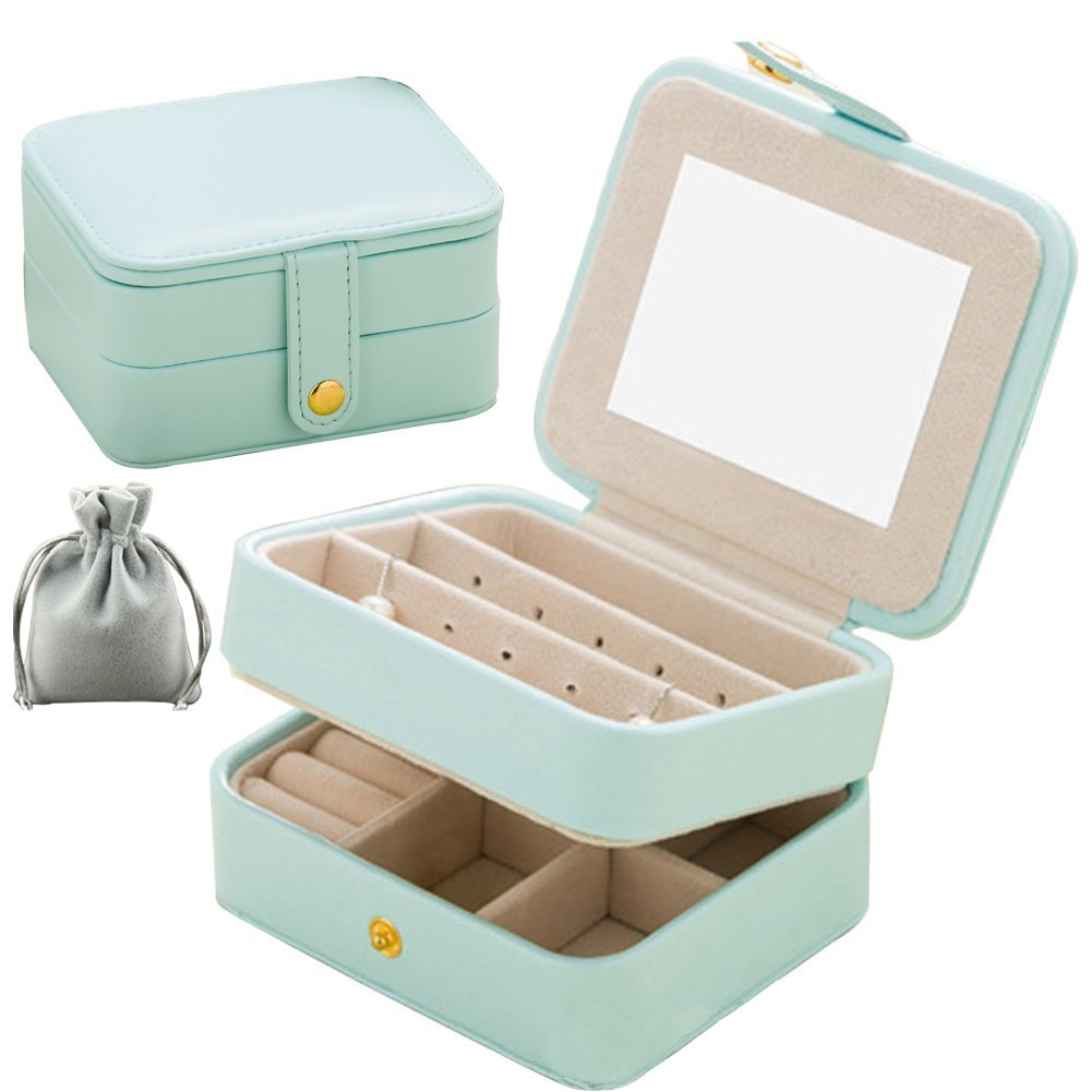 Jewelry Organizer Box-Nasion.V Travel Portable Jewelry Storage Case Accessories Holder Pouch Bulit-in Mirror with Environmental Faux Leather for Earring,Lipstick,Necklace,Bracelet,Rings Light Blue
