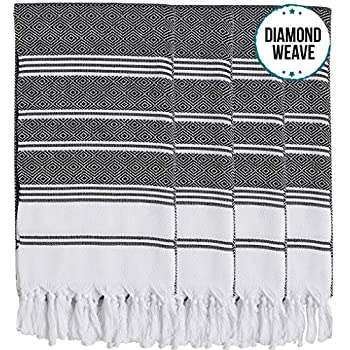SET of 6 New Season BRIGHTEST Diamond Weave Turkish Cotton Bath Beach Hammam Towel Peshtemal Blanket