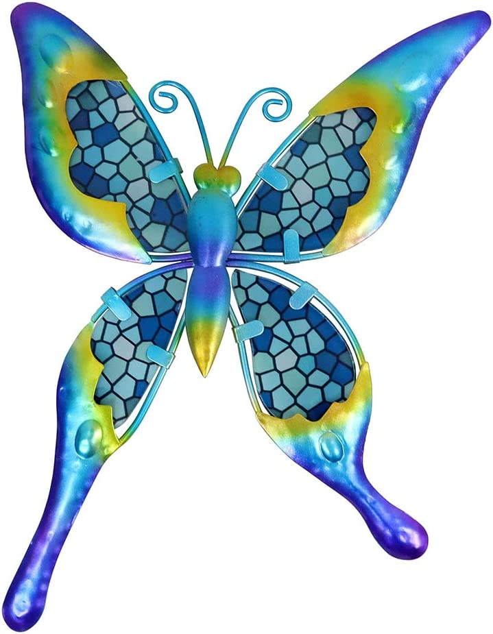 HONGLAND Metal Butterfly Wall Decor Blue Mosaic Glass Art Sculpture Hanging Decorations for Home, Garden, Bedroom, Indoor, Outdoor