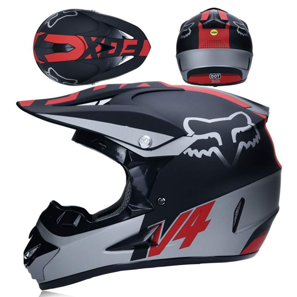4 del Set Wansheng Doble Deporte Casco de Motocross para Adultos Casco MX Motocicleta ATV Scooter ATV Casco D.O.T Fox Certificado con Gafas M/áscara Negro Plateado ,S55~56CM