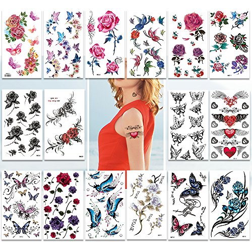 Temporary Tattoos Pack of 16 Sheets for Women Teens Girls Blossoms Flowers Flash Tattoo Stickers,200+ Body tattoos Designs,Colorful Flowers Butterflies Collection