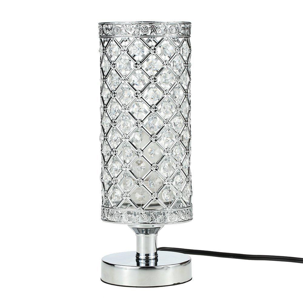 Crystal Silver Table Lamp Bedside Lighting for Modern Living Room Bedroom Tomshine