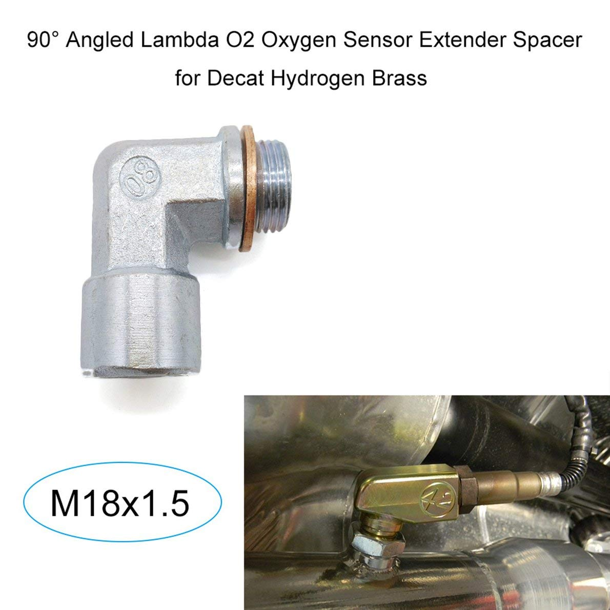 M18X1.5 O2 Oxygen Sensor Angled Extender Spacer 90 Degrees 02 Bung Extension for Decat Hydrogen Easy Installation