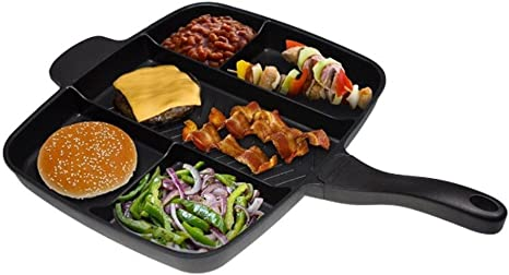 5in1 Divider Non-Stick Frying Pan Set Breakfast Skillet Divided Cooks Grill Tray
