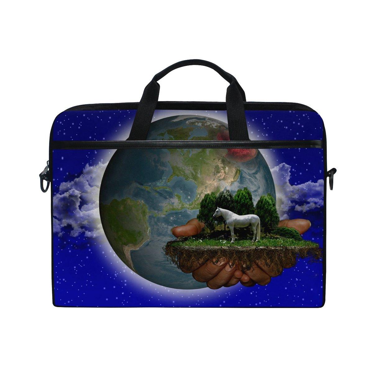 Ahomy Starry Sky World Horse Hands 14.5 14 – 14.5 Hands Pulgadas Multifuncional Tela Impermeable Laptop Case Bag Briefcase Bandolera 2f30d8