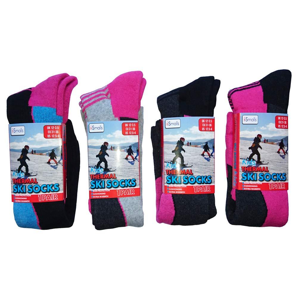 i-Smalls 4 Paar Hochleistungs-Kinder-Ski-Socken Langschlauch-Thermosocken
