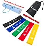 Resistance Loop Bands[free Yoga mat bundle belt]-Set of 5 Exercise Bands for Improving Mobility and Strength, Yoga, Pilates or for Injury Rehabilitation-Suitable for Women and Men and Children