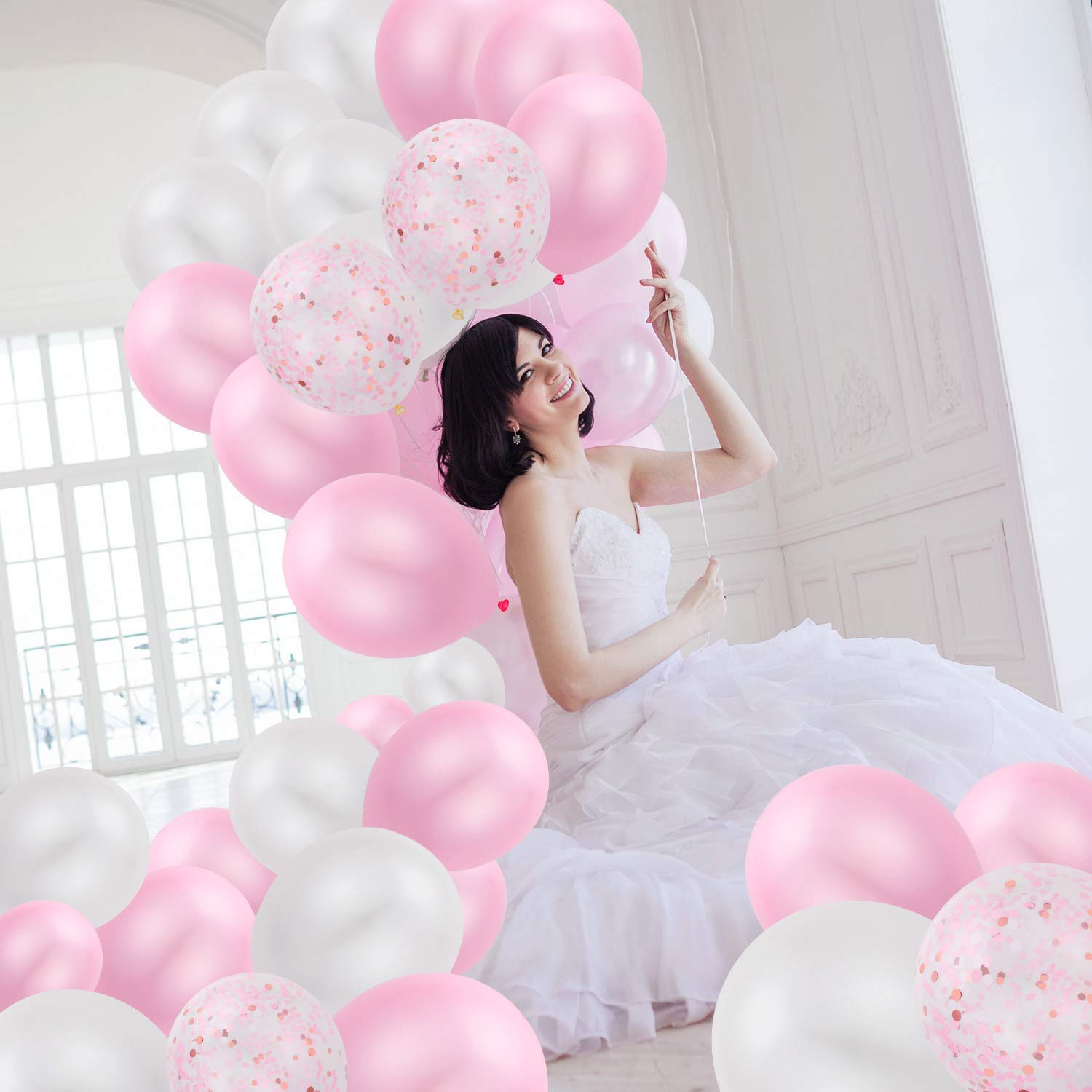 Konsait 50 Pieces 12 Inches Latex Balloons Confetti Balloons Pink and White Balloons Helium Balloons Party Supplies for Wedding Birthday Girl Baby Shower Party Decoration