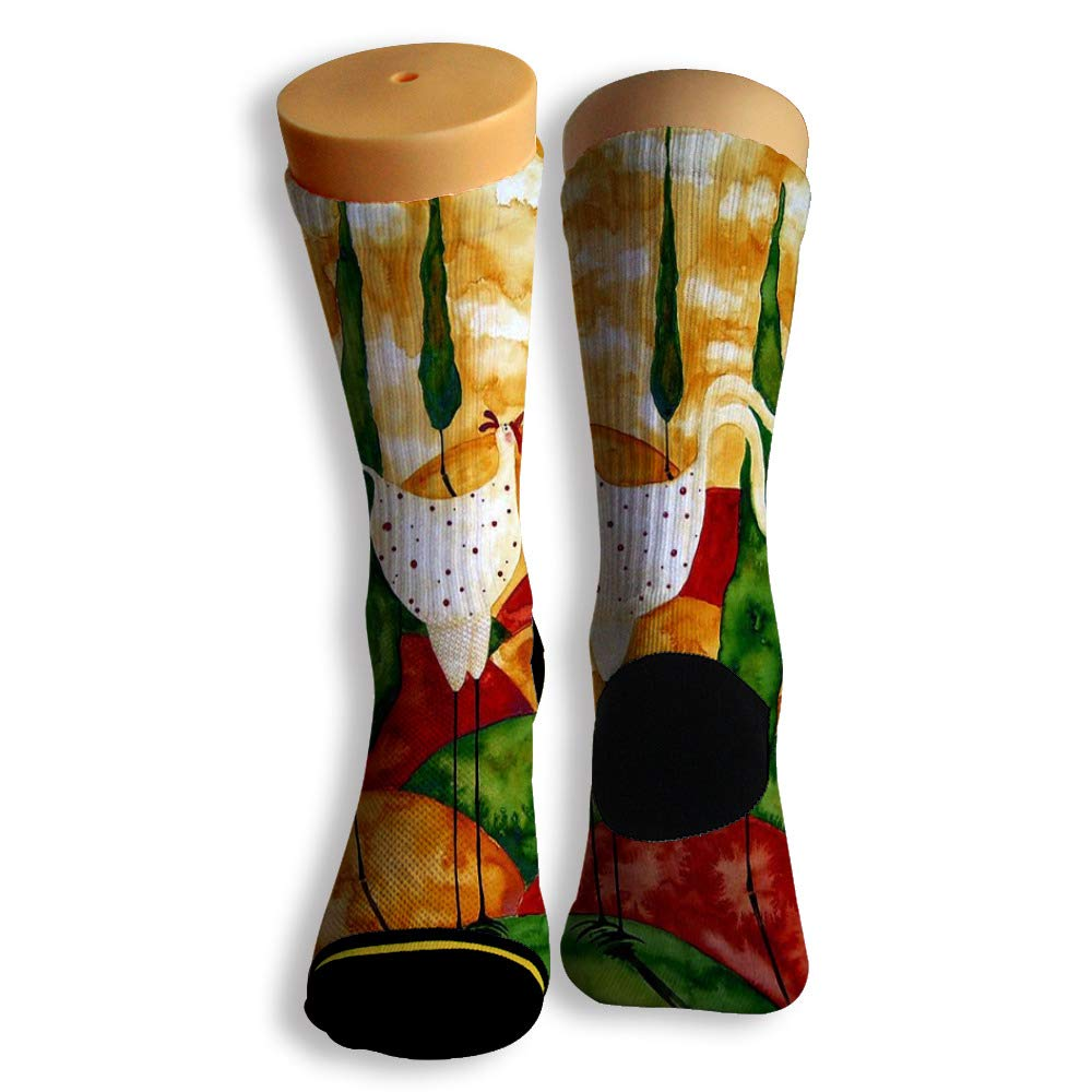 Basketball Soccer Baseball Socks by Potooy Luck Chicken Graffiti 3D Print Cushion Athletic Crew Socks for Men Women