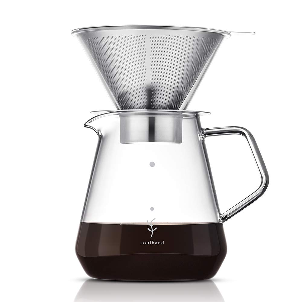 Soulhand Pour Over Coffee Brewer Pour Over Coffee Dripper 8 Cups Coffee Maker with Separable Paperless Coffee Filter with Glass -Bouns Coffee Scoop and Brush Large Capacity Brewer 28oz by SOUL HAND